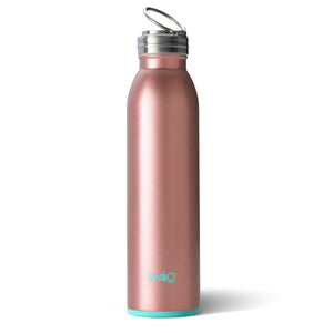 Swig brand 20 oz bottle tumbler featuring a screw off lid. The tumbler is rose gold.