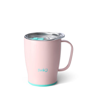 Swig brand 18 oz coffee mug tumbler featuring a clear lid. The tumbler is light pink.