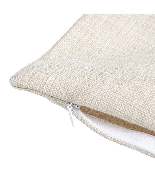 Tan canvas material pillow with a hidden white zipper.
