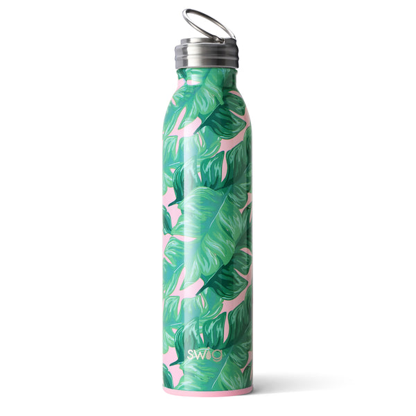 Swig brand 20 oz bottle tumbler featuring a screw off lid. The tumbler is designed with a light pink background and large green palm leaves throughout.
