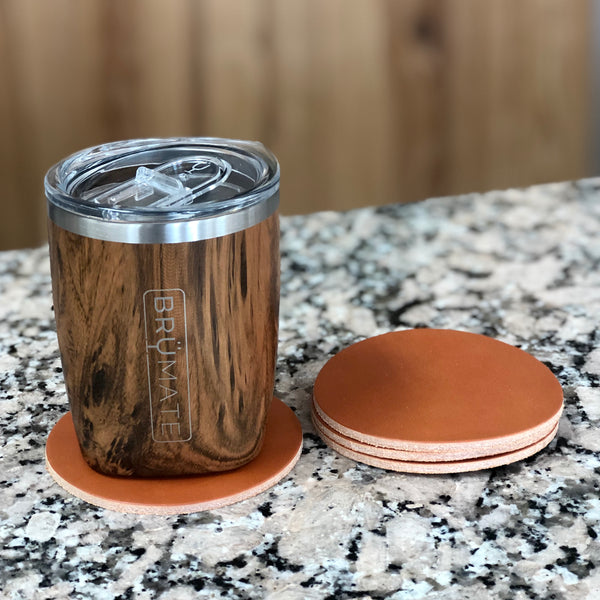 Coaster Set - Tan Full Grain Leather