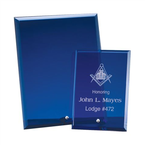 Standing blue see through plaques engraved with company logo and beveled on each side. Awards are rectangle shaped and features a silver stand at the bottom.