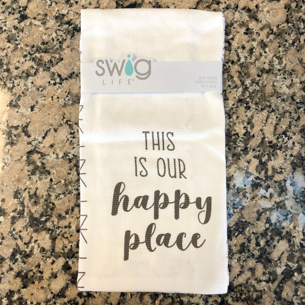 "White cotton hand towel featuring grey letters that read ""This is our happy place""."