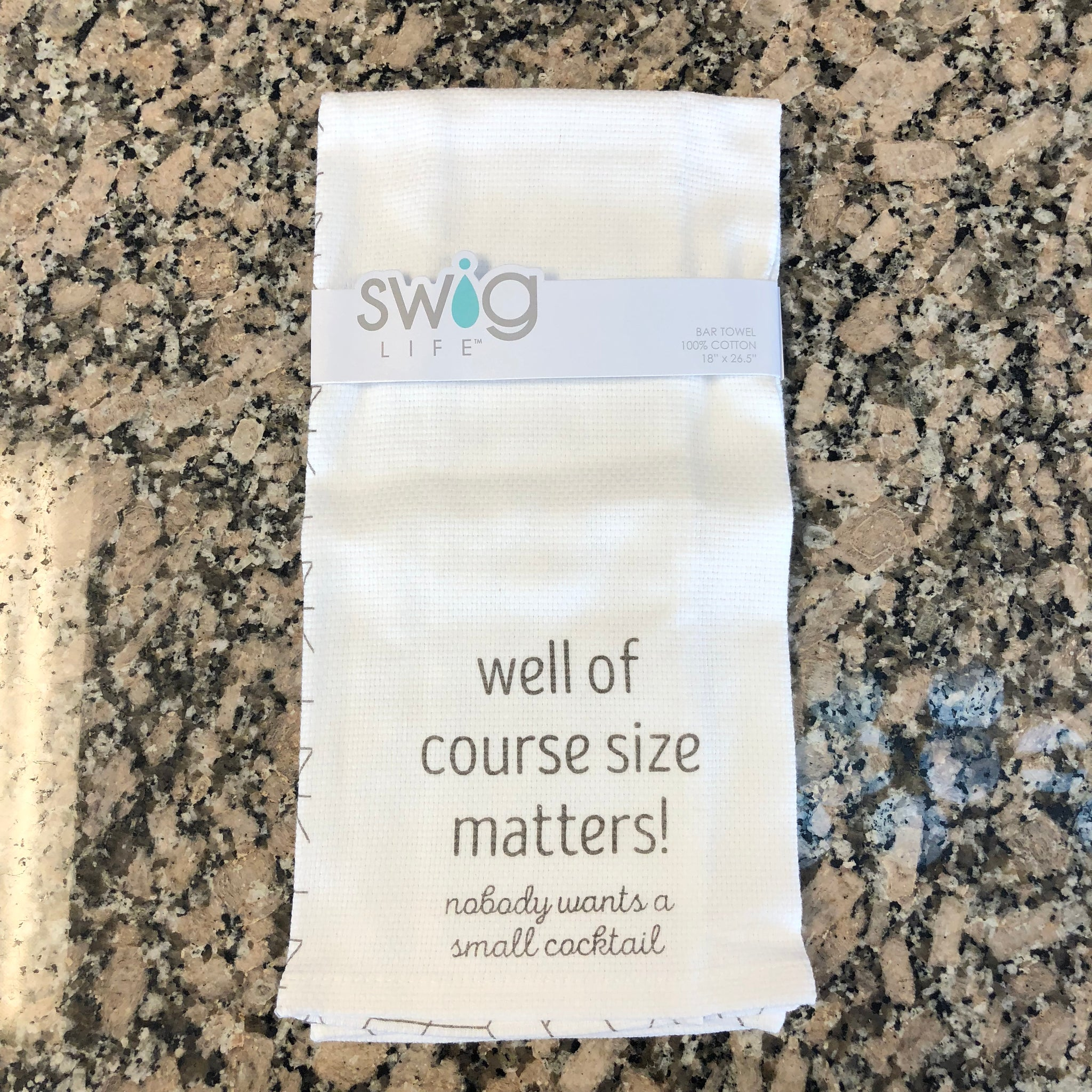 "White cotton hand towel featuring grey letters that read ""well of course size matters! nobody wants a small cocktail"""