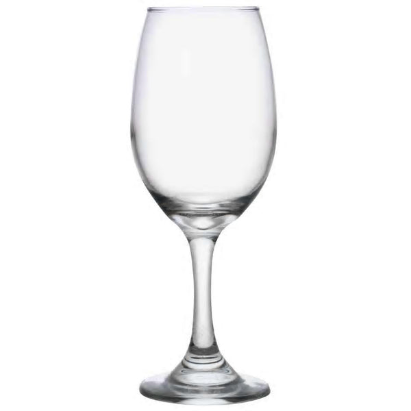 Large wine glass with tapered bowl that is more slender near the rim than it is at the stem.