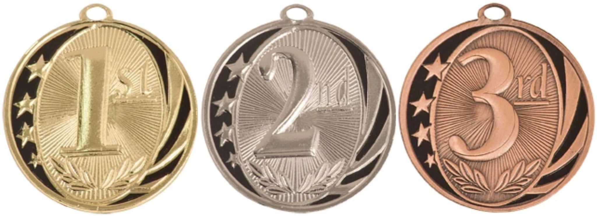"2"" gold, silver, and bronze medals with first, second and third place design on the front of each"