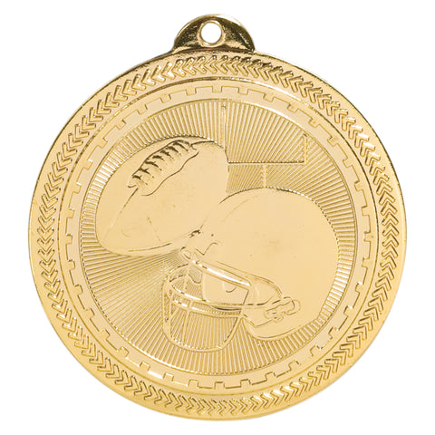 Gold football medal featuring a football, football helmet, and a field goal