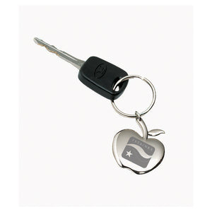 Shiny silver apple shaped keychain engraved with a company logo. Keychain is attached to a car key for dispaly.