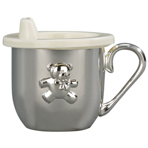 Silver metal baby sippy cup with a handle and a plastic lid. Sippy cup has a teddy bear design on the front and can be engraved on the back.