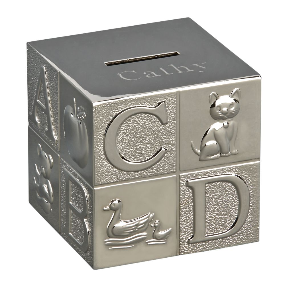 Small metal block shaped coin bank featuring letters of the alphabet and corresponding animals that start with that letter. The top of the bank is flat and engraved with a baby's name.