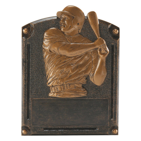 Bronze rectangle plaque shaped resin featuring a baseball player swinging his bat and an area for personalization at the top.
