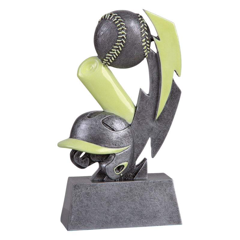 Silver and green glow in the dark baseball trophy featuring a rectangle base, baseball helmet, baseball bat, and baseball.