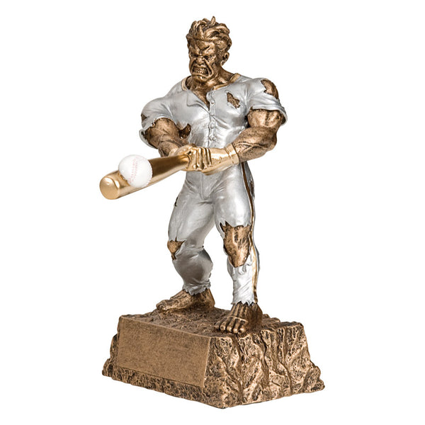 Bronze hulk figure trophy featuring a monster busting out of his clothes and hitting a baseball.