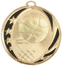 Gold and black basketball medal with stars, basketball, and basketball hoop design