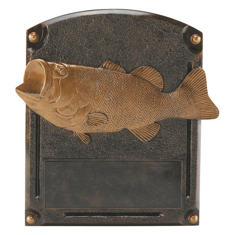 Custom engraved bass fishing trophy.
