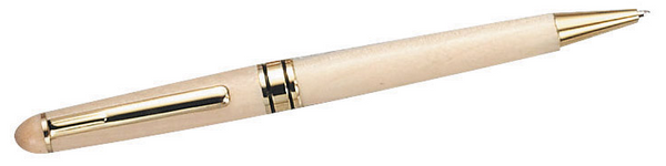 Light wood pen featuring a gold tip, ring in the middle, and clip. Can be engraved with a name or monogram.
