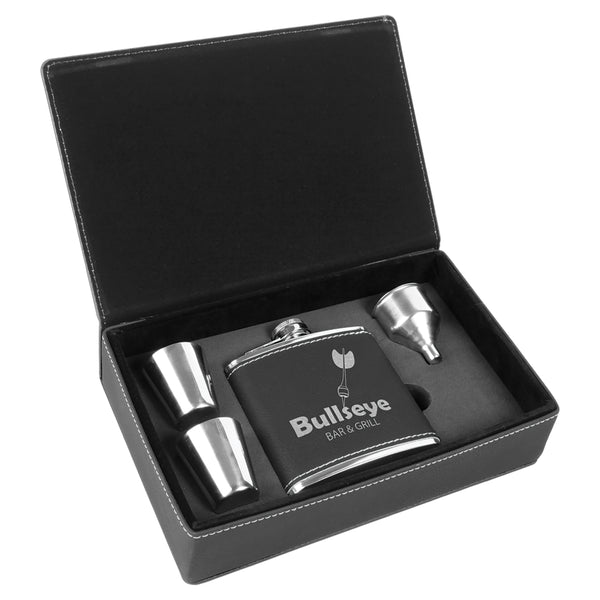 Personalized black faux leather flask and shot glass set.