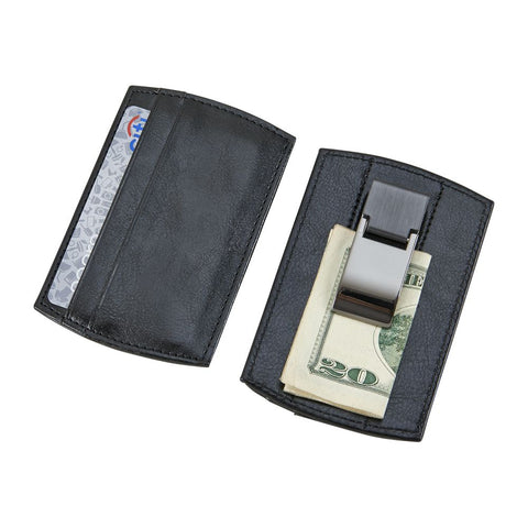 Black leatherette money clip featuring two card slots on the front and room for personalization. The back features a gunmetal money clip holding a twenty dollar bill.