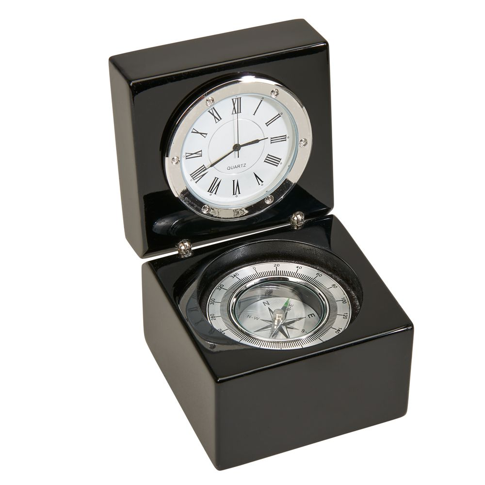 Clock - Black Piano Finish Compass