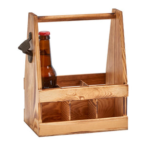 Light wood six pack beer caddy with handle. Has six square slots for six bottles. There is a metal bottle opener attached to the right hand side of the caddy.