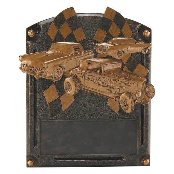 Bronze rectangular car show resin featuring a curved top, three hot rod cars, and a space for engraving below them.