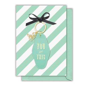 you got this keychain and greeting card