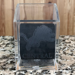 Engraved clear acrylic square pen cup