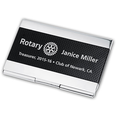 Shiny silver engraved business card holder with a large black checkered stripe running horizontally.