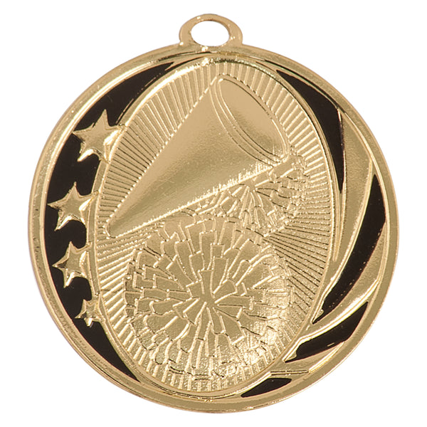 Gold and black cheerleading medal with stars, pom poms and megaphone design