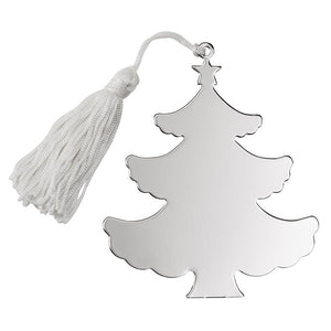 Shiny silver Christmas tree shaped ornament with white string and tassel for hanging. The silver Christmas tree ornament is flat and can be engraved with a message or monogram.