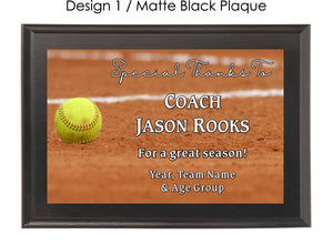 Softball Coach's Plaque - Generic