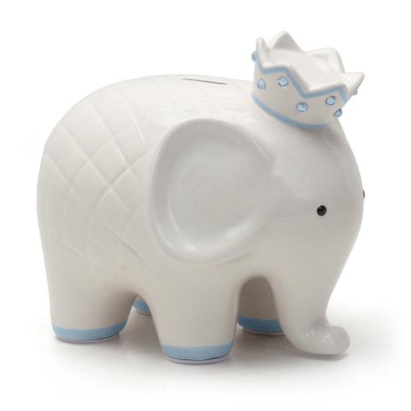 White and blue Child to Cherish Coco elephant piggy bank with crown.