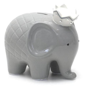 Grey and white Child to Cherish Coco elephant piggy bank with crown.