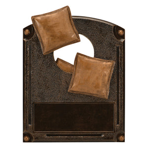 Bronze rectangle plaque shaped resin featuring a hole in the middle with three corn hole bags going inside the hole. There is room for an engraved plate at the bottom.
