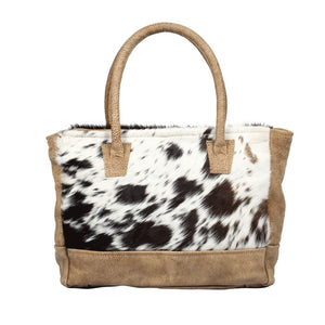 cowhide purse with handles