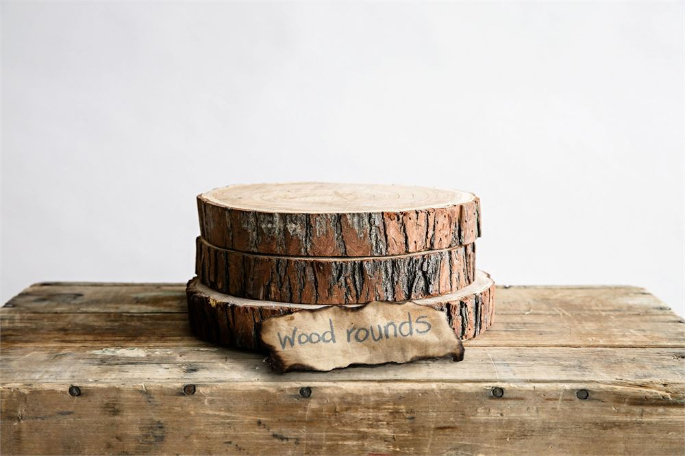 Wooden log slices with bark edge for display or home decor.