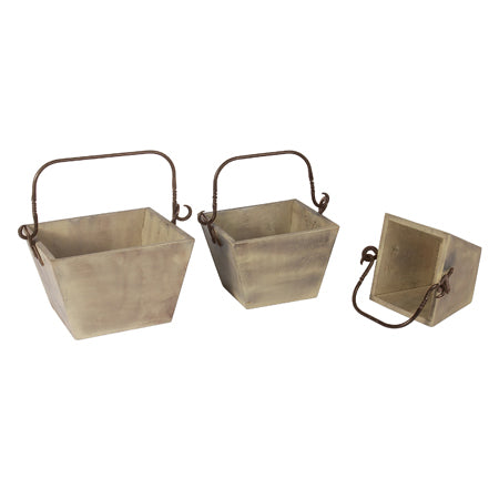 Iron Handle Wooden Basket