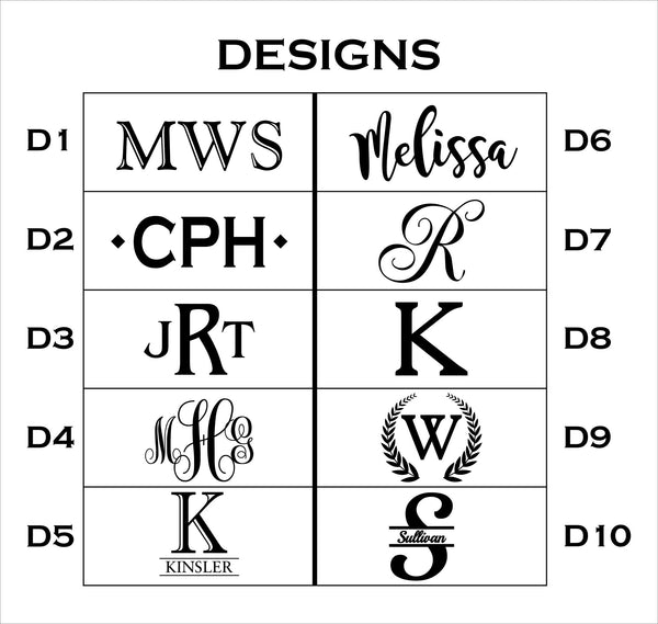 List of engraving design options