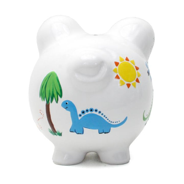 Boy's dinosaur themed painted piggy bank
