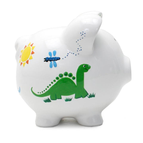 ceramic painted dinosaur piggy bank
