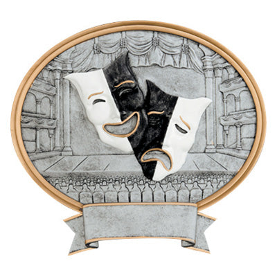 Oval shaped silver theater trophy featuring a gold outline, a stage with seats and curtains, and two black and white drama masks in the center.