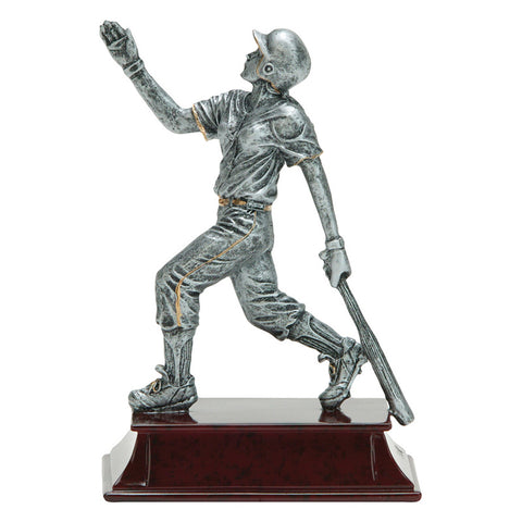 Softball trophy featuring a maroon rectangular base and a silver softball player attached on top. The softball player is running with a bat behind her.