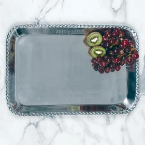 Shiny silver extra large rectangle shaped tray with a beaded edge. Center of the tray can be engraved with a special message.