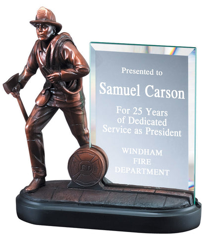 custom engraved firefighter service award