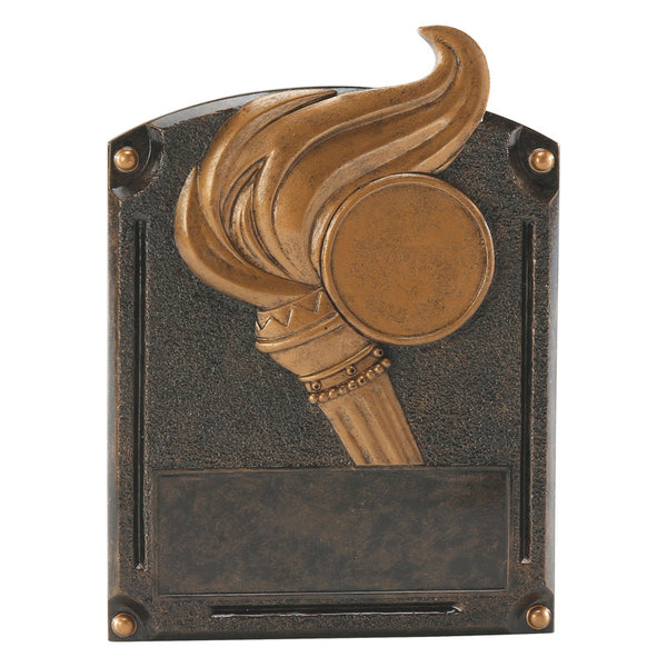 Bronze victory themed rectangle shaped plaque resin featuring a large torch and flame.