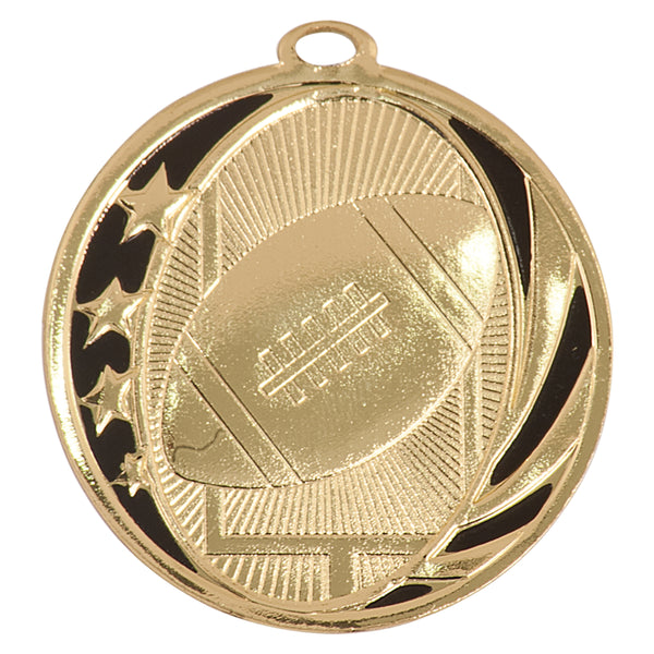 Gold and black football medal with stars, football, and field goal design