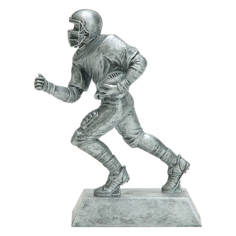 Silver football resin featuring a rectangle silver base and a silver football player running with a football tucked in one arm.