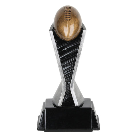 Football resin featuring a black square base with room for engraving, a black and silver pedestal, and a bronze colored football sitting slanted on top.