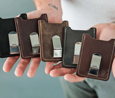 Genuine Leather Money Clip/Card Holder