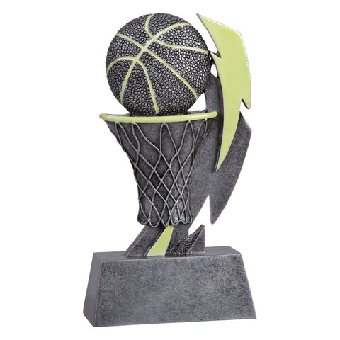 Silver and green glow in the dark basketball trophy featuring a rectangular base, a basketball hoop, a basketball, and a glowing lightening bolt.